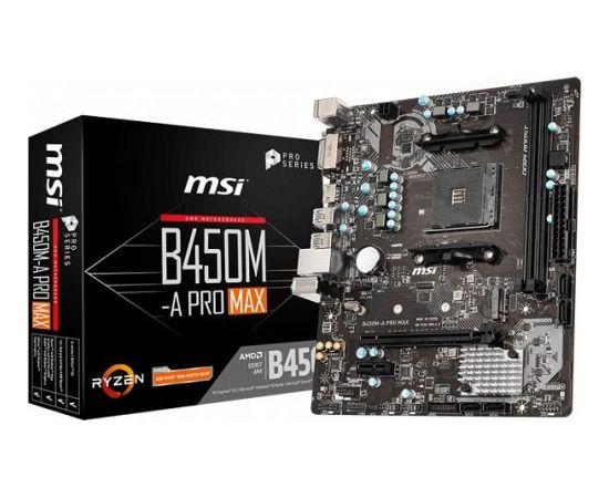MSI B450M-A PRO MAX, AM4,2 x DDR4, 1 x PCI-Ex16, 1 x M.2 slot, 4 x SATA 6Gb/s