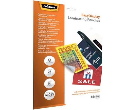 LAMINATOR POUCH EASYDISPLAY/A4 80 25PCS 5601703 FELLOWES