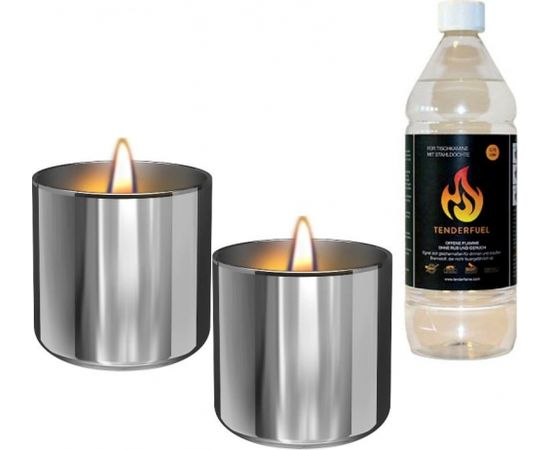 Tenderflame Gift Set, 2 Tabletop burners + 0,5 L fuel,  Lilly 8 cm Silver