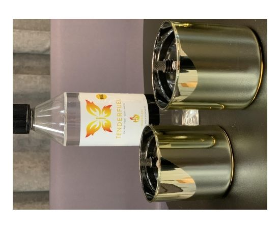 Tenderflame Gift Set, 2 Tabletop burners + 0,5 L fuel,  Lilly 8 cm Gold