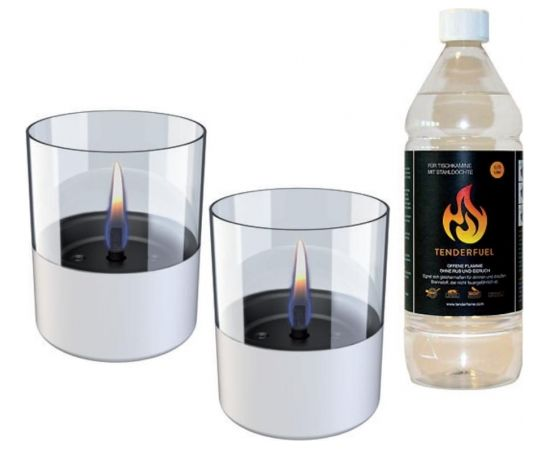 Tenderflame Gift Set, 2 Tabletop burners + 0,7 L fuel,  Lilly 10 cm White