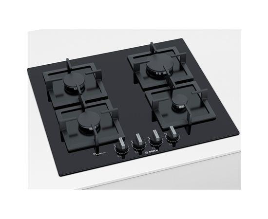 Bosch PPP6A6B20 gāzes pl. virsma, 60cm, melns stikls, čuguna balsti