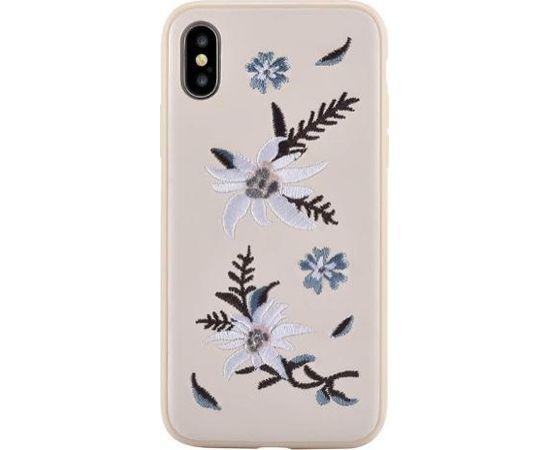 Devia Flower Embroidery Jalam Aizmugurējais Silikona Apvalks priekš Apple iPhone X / XS Balts