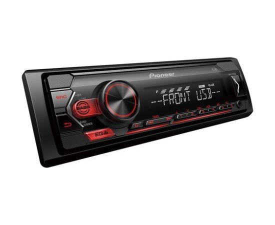 Pioneer MVH-S120UB MOSFET 4x50W;  USB,FLAC,MP3 ;FM;AUX in;1xRCA; balts/sarkans apgaismojums                                                                                                                     .