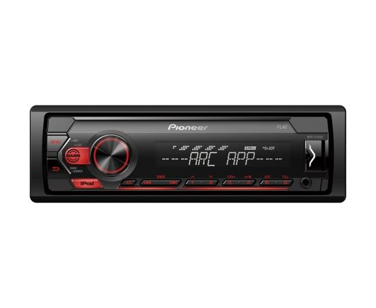 Pioneer MVH-S120UI MOSFET 4x50W;  USB,FLAC,MP3 ;FM;AUX in;1xRCA;iPhone control; balts/sarkans apgaismojums                                                                                                                     .