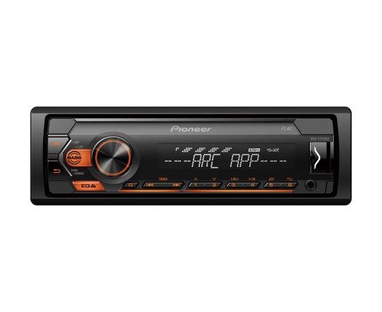 Pioneer MVH-S120UBA MOSFET 4x50W;  USB,FLAC,MP3 ;FM;AUX in;1xRCA; balts/oranžs apgaismojums                                                                                                                     .