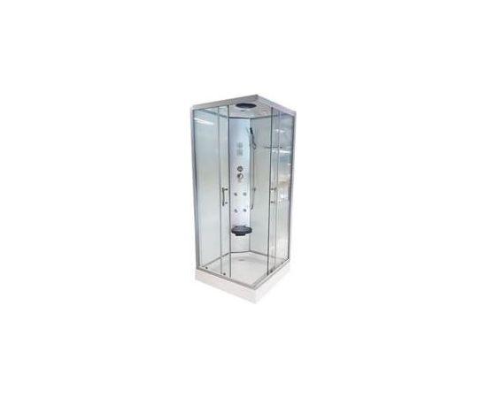 Masāžas dušas kabīne VENTO PALERMO 90x90x215cm, zemais (15cm) paliktnis, caurspīdīgi stikli
