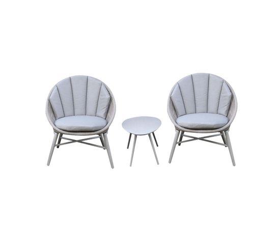 Balkonu komplekts SHELLY galds un 2 krēsli ar spilveniem, alumīnija rāmis ar tekstilmateriāla auklu, krāsa: pelēks