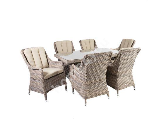Dārza mēbeļu komplekts EDEN galds un 6 krēsli, alumīnija rāmis ar plastikāta pinumu, krāsa: bēšs