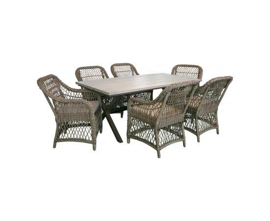 Dārza mēbeļu komplekts LAURINO galds un 6.krēsli, rāmis: alumīnijs ar plastikāta pinumu, krāsa: brūns