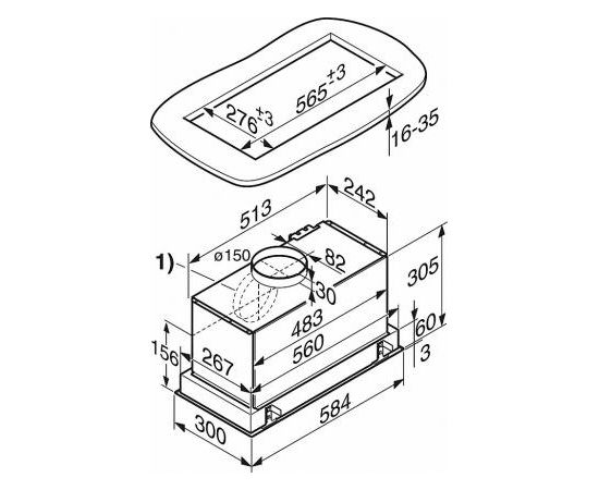 Miele DA 2668 iebūvējams tvaika nosūcējs