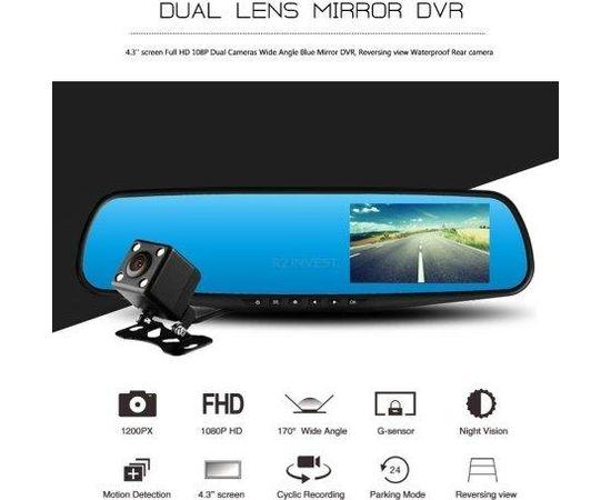 RoGer 2in1 Auto video Reģistrātors ar Spogulis un atpakaļskata Kameru / Full HD / 170' / G-Sensor / MicroSD / LCD 4.3''