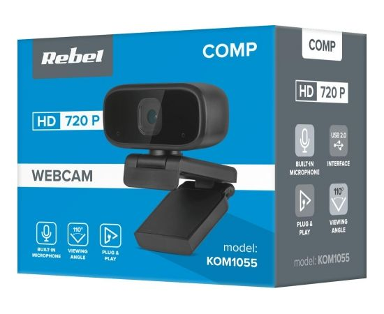 Roger Rebel  Web Kamera HD 720P ar Mikrofonu Melna