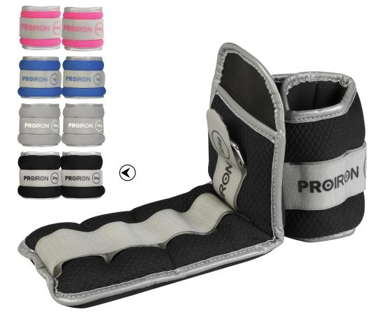 ProIron Ankle Weight Set Weight Bands, 36 x 12 cm, 2 x 2 kg, Black