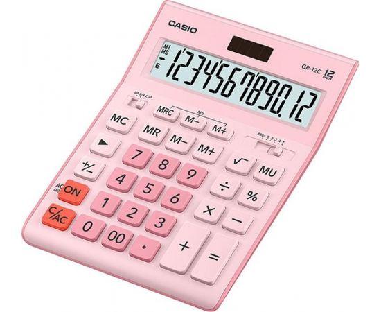 Galda kalkulators CASIO GR-12C, 155x209x35 mm, rozā krāsā