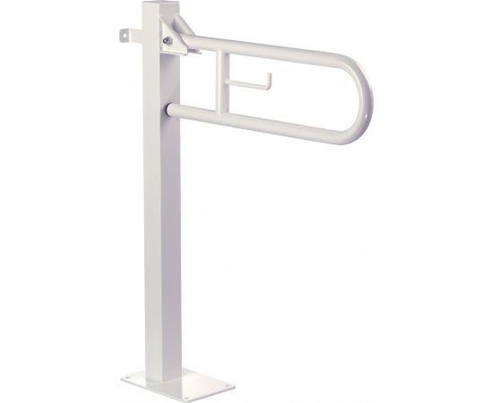 Mediclinics atbalsta rokturis Mediepoxy, paceļams, ar tualetes papīra turētāju, pie grīdas, 721x800 mm, balts tērauda ##