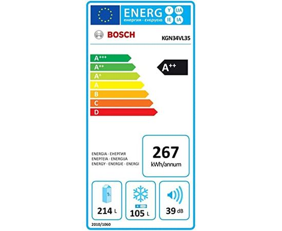 Bosch KGN34VL35   NoFrost 186 cm x 60 cm A++