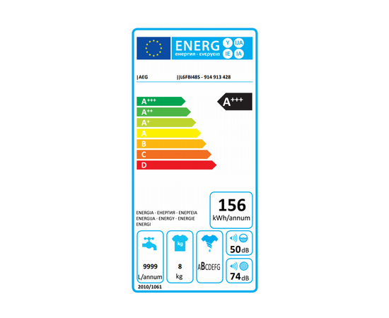 AEG L6FBI48S veļas mazgājamā mašīna, 8kg, 1400 rpm, LCD