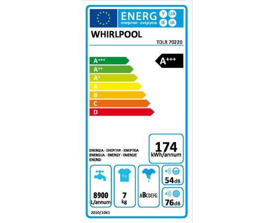 Whirlpool TDLR 70220 Отдельностоящий Вертикальная загрузка 7кг 1200об/мин A+++ Белый стиральная машина