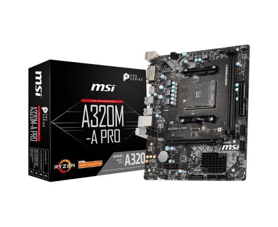 Mainboard MSI AMD A320 SAM4 MicroATX 1xPCI-Express 2.0 1x 1xPCI-Express 3.0 16x Memory DDR4 Memory slots 2 1xDVI 1xHDMI 1xAudio-In 1xAudio-Out 1xMicrophone 2xUSB 2.0 4xUSB 3.2 2xPS/2 1xRJ45 A320M-APRO