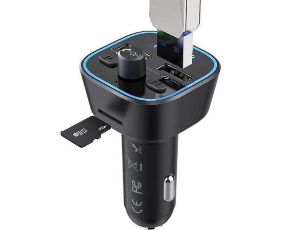 BlitzWolf BW-BC1 Bluetooth 5.0 FM Transmitter Ar Uzlādes Ligzdu USB Quick Charge 3.0 / Micro SD / Melns