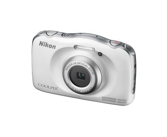 Nikon COOLPIX W100 Compact camera, 13.2 MP, Optical zoom 3 x, Digital zoom 2 x, ISO 1600, Display diagonal 6.86 cm, Wi-Fi, Video recording, Lithium-Ion (Li-Ion), White