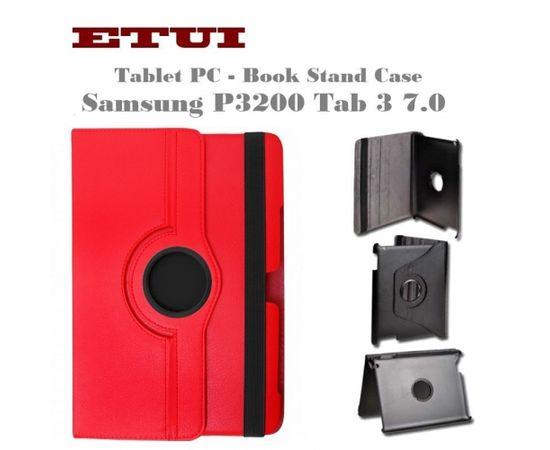 Etui Eko ādas maks ar rotējošu statīva mehānismu priekš Samsung P3200 Tab 3 7.0 Sarkans