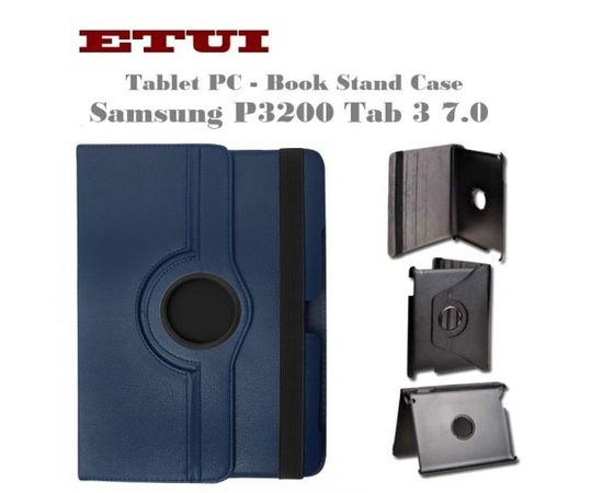 Etui Eko ādas maks ar rotējošu statīva mehānismu priekš Samsung P3200 Tab 3 T211 7.0 Zils