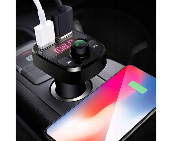 RoGer B2 Auto FM Transmiteris ar Bluetooth 4.2  / 2xUSB ar 3.1A / MP3 / Card Slot TF / Micro SD / Auto Ladētājs / Melns