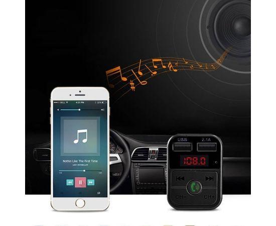 RoGer X8 Auto FM Transmiteris ar Bluetooth 4.2  / 2xUSB ar 2.1A / MP3 / Card Slot TF / Micro SD / Auto Ladētājs / Melns